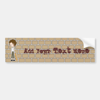 Cute Cartoon Emo Boy Skateboarder Bumper Sticker