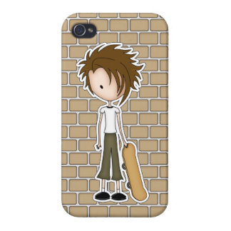 Cute Cartoon Emo Boy Skateboarder iPhone 4 Cover