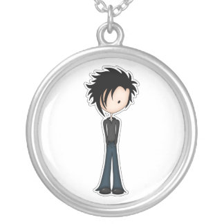 Cute Cartoon Emo Boy with Black Spikey Hair Silver Plated Necklace