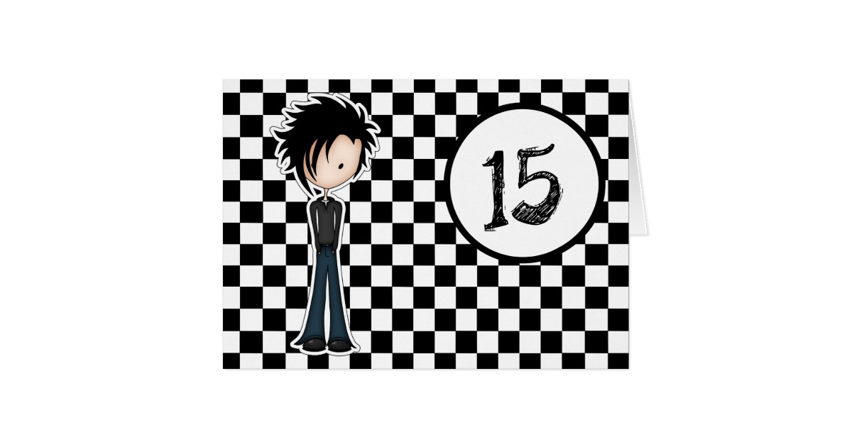 Cute Cartoon Emo Teen Boy 15th Birthday Card – Emo Birthday Cards
