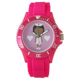 Cute Cartoon Ethnic Nurse & Hearts Pink Wristwatches