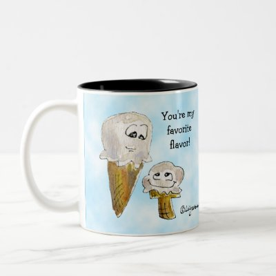 Cute Cartoon Faces Ice Cream Cones Coffee Mugs by zooogle