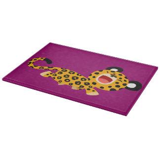 Cute Cartoon Facetious Leopard Cutting Board