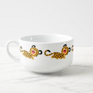 Cute Cartoon Facetious Leopard Soup Mug