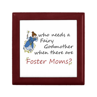Cute Cartoon Fairy & Foster Moms Saying Gift Box