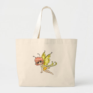 Cute cartoon fairy with yellow wings canvas bags