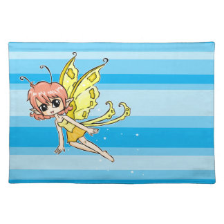 Cute cartoon fairy with yellow wings cloth placemat