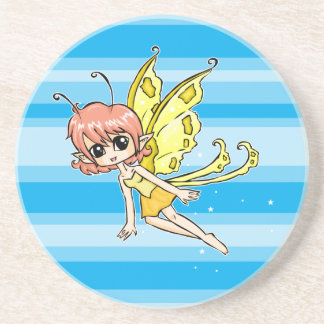 Cute cartoon fairy with yellow wings coaster