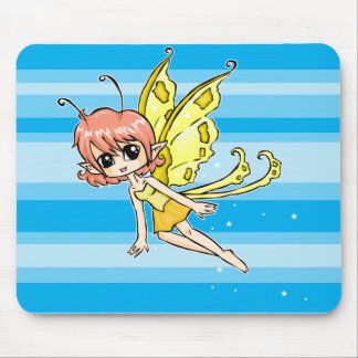 Cute cartoon fairy with yellow wings mouse pad