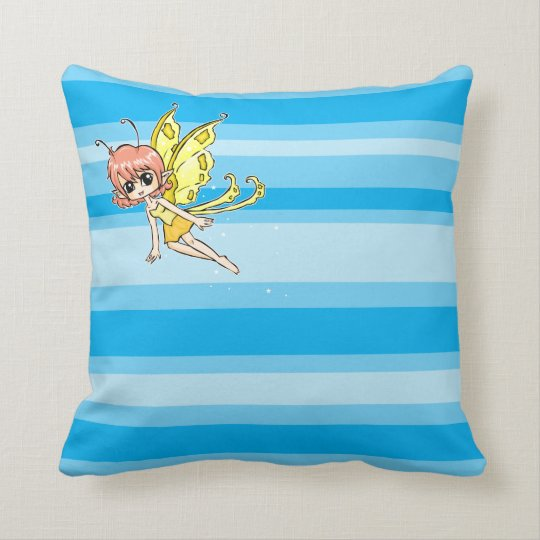 Cute cartoon fairy with yellow wings throw pillow