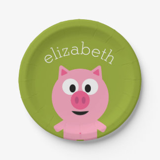 Cute Cartoon Farm Pig - Pink and Lime Green 7 Inch Paper Plate