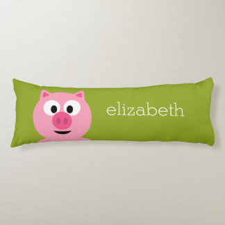 Cute Cartoon Farm Pig - Pink and Lime Green Body Pillow