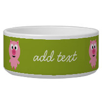 Cute Cartoon Farm Pig - Pink and Lime Green Bowl