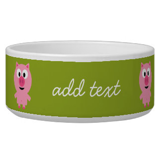 Cute Cartoon Farm Pig - Pink and Lime Green Bowl