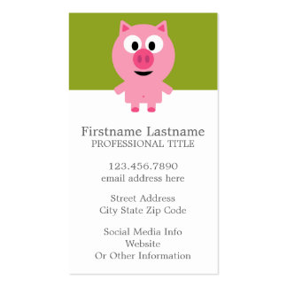 Cute Cartoon Farm Pig - Pink and Lime Green Double-Sided Standard Business Cards (Pack Of 100)