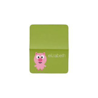Cute Cartoon Farm Pig - Pink and Lime Green Business Card Holder