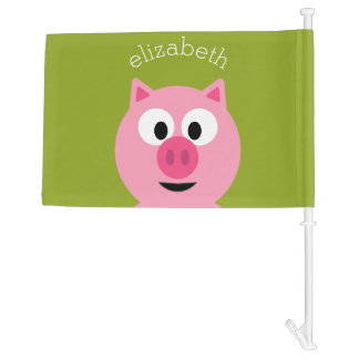 Cute Cartoon Farm Pig - Pink and Lime Green Car Flag