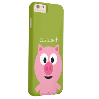 Cute Cartoon Farm Pig - Pink and Lime Green Barely There iPhone 6 Plus Case