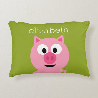 Cute Cartoon Farm Pig - Pink and Lime Green Decorative Pillow