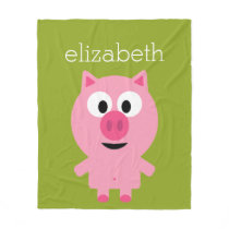 Cute Cartoon Farm Pig - Pink and Lime Green Fleece Blanket