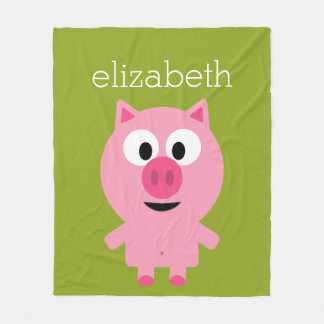 Cute Cartoon Farm Pig - Pink and Lime Green Fleece Blanket