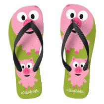 Cute Cartoon Farm Pig - Pink and Lime Green Flip Flops