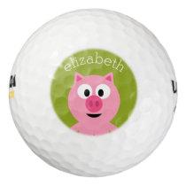 Cute Cartoon Farm Pig - Pink and Lime Green Golf Balls