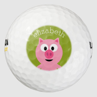 Cute Cartoon Farm Pig - Pink and Lime Green Golf Balls