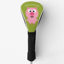 Cute Cartoon Farm Pig - Pink and Lime Green Golf Head Cover