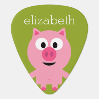 Cute Cartoon Farm Pig - Pink and Lime Green Guitar Pick