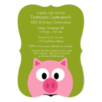 Cute Cartoon Farm Pig - Pink and Lime Green Invitation