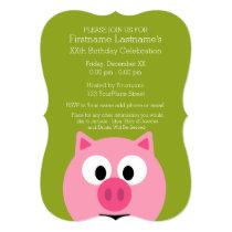 Cute Cartoon Farm Pig - Pink and Lime Green Invitation