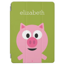 Cute Cartoon Farm Pig - Pink and Lime Green iPad Air Cover