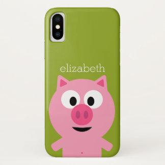 Cute Cartoon Farm Pig - Pink and Lime Green iPhone X Case