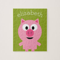 Cute Cartoon Farm Pig - Pink and Lime Green Jigsaw Puzzle