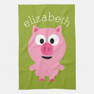 Cute Cartoon Farm Pig - Pink and Lime Green Kitchen Towel