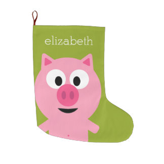 Cute Cartoon Farm Pig - Pink and Lime Green Large Christmas Stocking