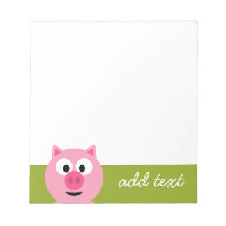 Cute Cartoon Farm Pig - Pink and Lime Green Note Pad