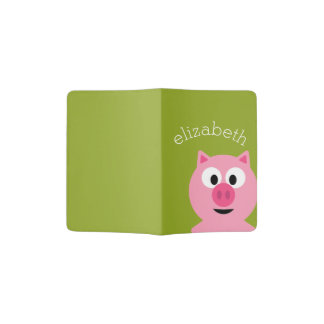 Cute Cartoon Farm Pig - Pink and Lime Green Passport Holder