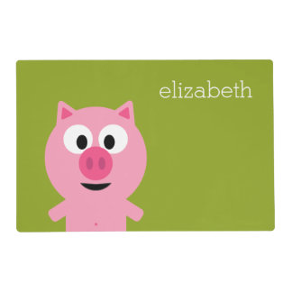 Cute Cartoon Farm Pig - Pink and Lime Green Placemat