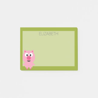 Cute Cartoon Farm Pig - Pink and Lime Green Post-it Notes
