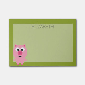 Cute Cartoon Farm Pig - Pink and Lime Green Post-it® Notes