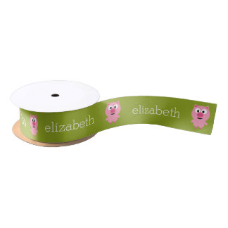 Cute Cartoon Farm Pig - Pink and Lime Green Satin Ribbon