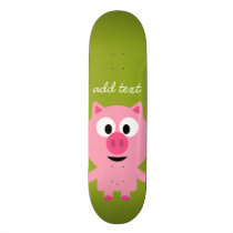 Cute Cartoon Farm Pig - Pink and Lime Green Skateboard Deck