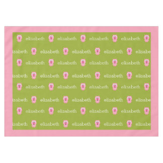 Cute Cartoon Farm Pig - Pink and Lime Green Tablecloth