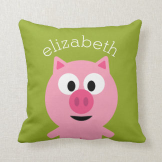 Cute Cartoon Farm Pig - Pink and Lime Green Throw Pillow