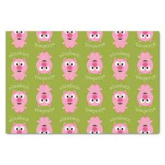 Cute Cartoon Farm Pig - Pink and Lime Green Tissue Paper