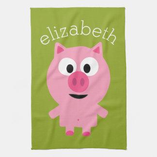 Cute Cartoon Farm Pig - Pink and Lime Green Towel