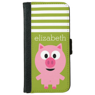 Cute Cartoon Farm Pig - Pink and Lime Green Wallet Phone Case For iPhone 6/6s