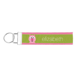 Cute Cartoon Farm Pig - Pink and Lime Green Wrist Keychain